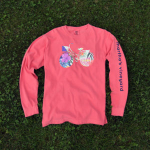 coral long-sleeve tropical bike shirt martha's vineyard