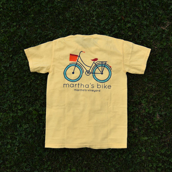 back of yellow martha's bike logo t-shir