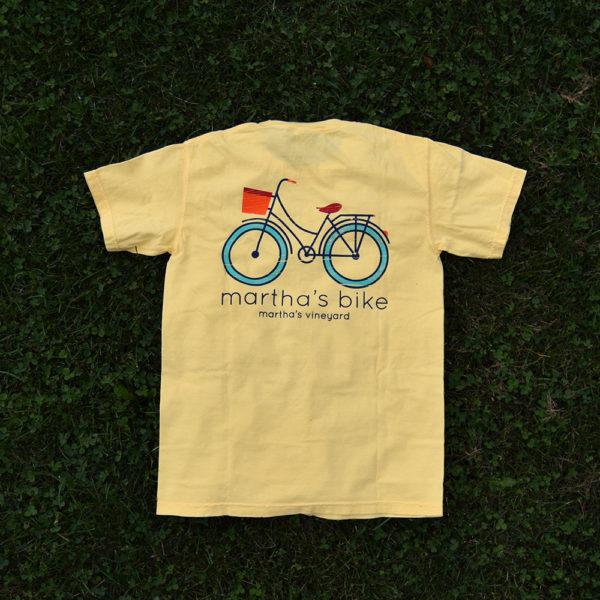 back of yellow martha's bike logo t-shir